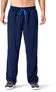 Men's Open Bottom Sweatpants Lightweight Wrinkle-Free Drawstring Yoga Workout Running Pants Zipper Pockets