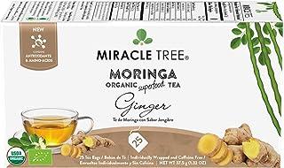 Miracle Tree – Organic Moringa Superfood Tea, 25 Individually Sealed Tea Bags, Ginger