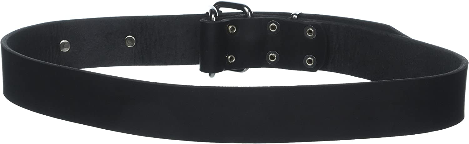 Dean and Tyler SILVER TAG , Dog Collar with Engravable Id Plate and Nickel Hardware  Black  Size 34  by 11 2   Fits Neck 32  to 36