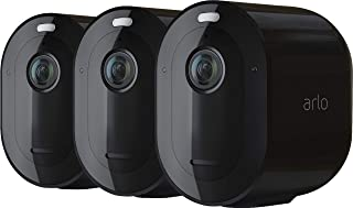 Arlo Pro 4 Spotlight Camera - 3 Pack - Wireless Security, 2K Video & HDR, Color Night Vision, 2 Way Audio, Wire-Free, Direct to WiFi No Hub Needed, Black - VMC4350B
