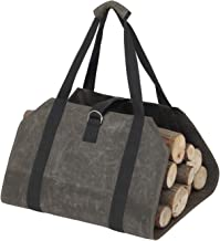 Elezay Log Carrier Waxed Canvas Bag Wood Holders Fireplace Stove Accessories