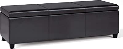SIMPLIHOME Avalon Extra Large Bench Storage Ottoman, 54 inch, Tanners Brown