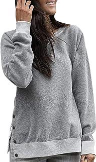 WOZNLOYE Mujer Sudaderas Cuello Redondo Manga Larga Tops Jerséis Moda Botón Suéter Blusas Color Sólido Otoño Invierno