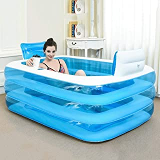 Ying Bathtub Inflatable Bathtub Thickened Adult Tub Folding Bath Tub Bath Plastic Bath Tub Foldable Inflatable (Color : Blue, Size : 1.5 m)