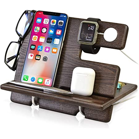 iPhone 7 docking station Mobile charging dock Wood cell phone valet Rosewood smartphone stand Eyeglass holder Wooden Pen tray Made in Greece