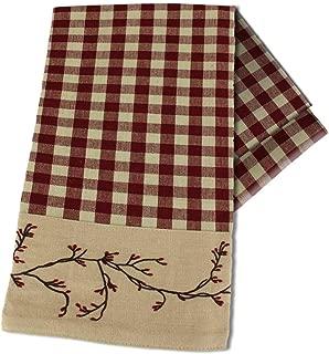 Primitive Home Decors Berry Vine Check Barn Red Kitchen Towel