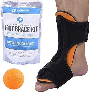 Plantar Fasciitis Night Splint Arch Support - Healing Wonders Foot Brace Kit [With Massage Ball] Pain Night Splints and Tendon Stretcher for Planter Fascitis, Achilles Tendonitis, Heel Spur Relief