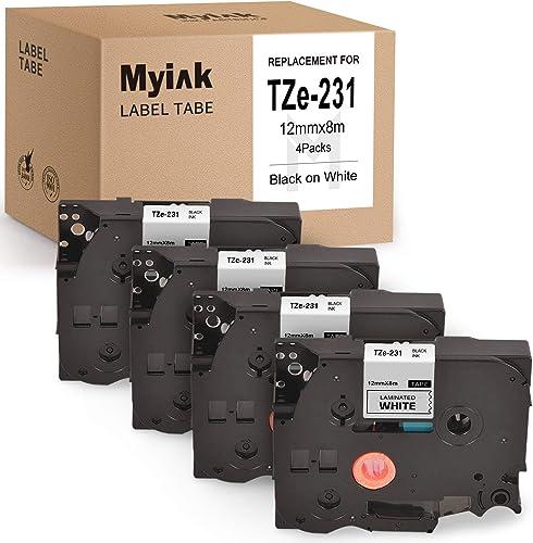 new arrival MYIK Compatible Label Tape Replacement for Brother wholesale TZ231 TZe-231 Tz Laminated P-Touch Label Maker Tape for PT-D600 Pt-1230Pc PT-D210 PT-H110 high quality Pt-1280 12mm x 8m 0.47 Inch Black On White (4 Pack) sale