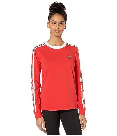 adidas Originals 3-Stripes Long Sleeve Tee (Lush Red/White) Women