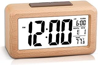 Wooden Digital Alarm Clock,Table Clock - Smart Sensor Night Light with Snooze Function Dim Mode, Date,Temperature,12/24H S...