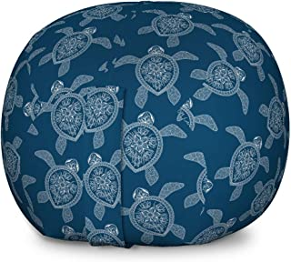 Lunarable Mandala Turtle Storage Toy Bag Chair, Bohemian Pattern with Abstract Turtle in Oriental Style, Stuffed Animal Organizer Washable Bag for Kids, Large Size, Night Blue