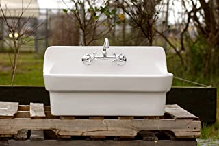 White Vintage Style High Back Farm Sink Original Porcelain Finish Apron Kitchen Utility Sink