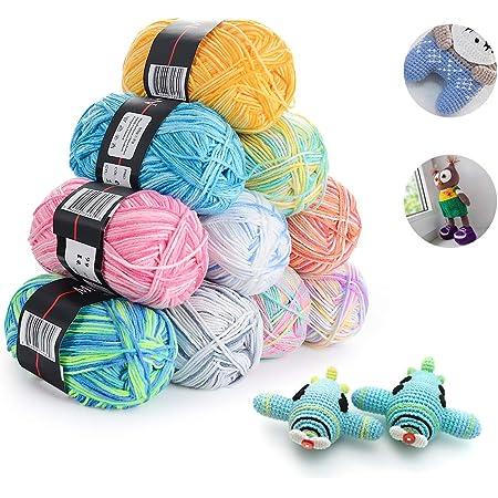 HellDoler Laine Multicolore pour Tricot,10 Pièces 50g Fil de Crochet Multicolore Acrylique Coton Laine Fil à Tricoter à la Main Fil à Tricoter Ensemble,200 m par Rouleau