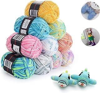 HellDoler Laine Multicolore pour Tricot,10 Pièces 50g Fil de Crochet Multicolore Acrylique Coton Laine Fil à Tricoter à la...