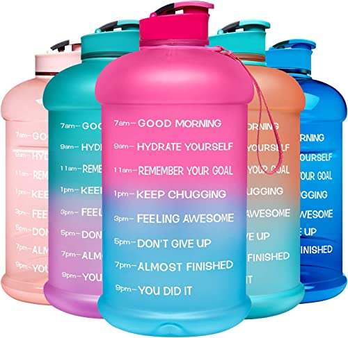 Venture Pal Motivational Water Bottle with Time Marker - 1 Gallon/ 128 Oz Reusable Water Jug with Handle and Measurem...