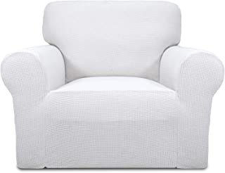 Easy-Going Stretch Chair Sofa Slipcover 1-Piece Couch Sofa Cover Furniture Protector Soft with Elastic Bottom for Kids,Pet. Spandex Jacquard Fabric Small Checks(Chair,Snow White)
