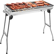 GRANDMA SHARK BBQ Grill, Stainless Steel Barbecue Grill with Stand, Foldable and portable outdoor charcoal bbq, suitable f...