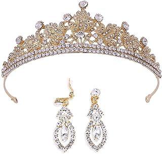 Brinote corona barroca y tiaras con pendiente de cristal vintage tocados accesorios para el cabello nupcial conjunto de jo...