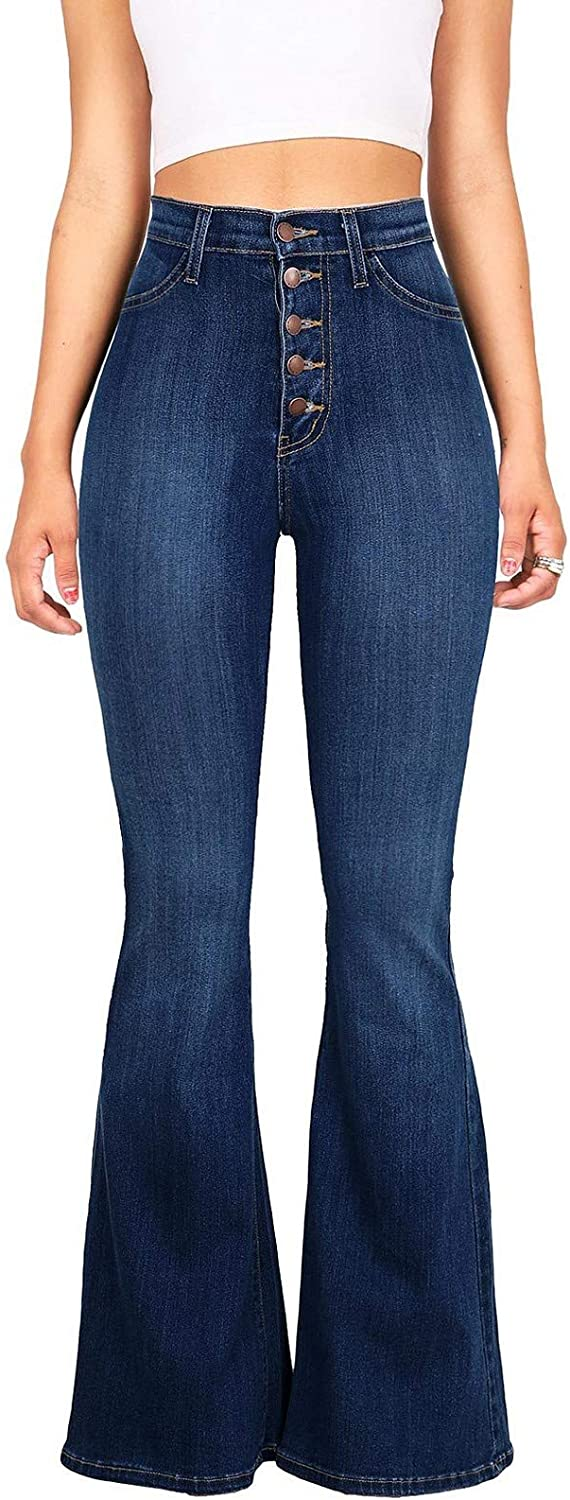 Women's Pants for Women Bell Bottom High Waisted Stretch Jeans Casual Plus Size Denim Jeans