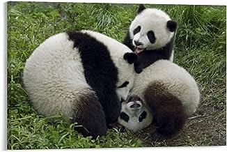 Gigantische panda drie jonge panda's spelen canvas kunst poster en muurkunst afbeelding afdrukken moderne familie slaapkam...