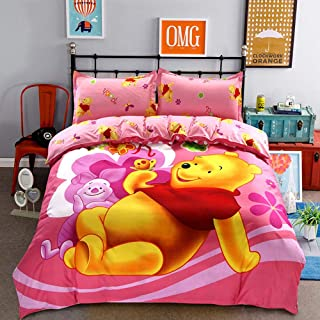 Warm Embrace Kids Bedding Teen Comforter Set Girls Children Bed in a Bag Winnie The Pooh,Duvet Cover and Pillowcase and Flat Sheet and Duvet (White),Twin Size,4 Piece
