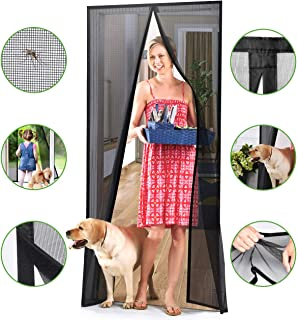 Homitt [Upgraded Version] Magnetic Screen Door with Durable Fiberglass Mesh Curtain and Full Frame Hook & Loop Fits Door Size up to 34