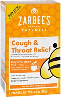 Zarbees Cough and Throat Relief Drink Mix - Daytime Supplement - 6 Packets - Safe and Effective - Supports Healthy Immune ...