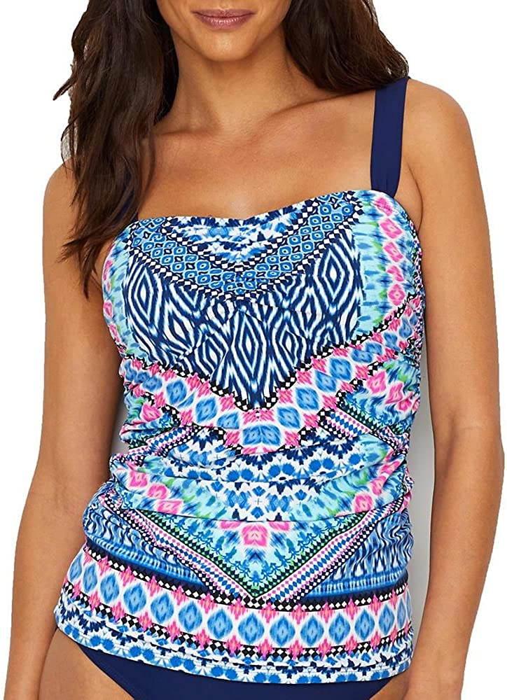 Christina Women's Standard Post-masectomy D-Cup Shirred Tankini
