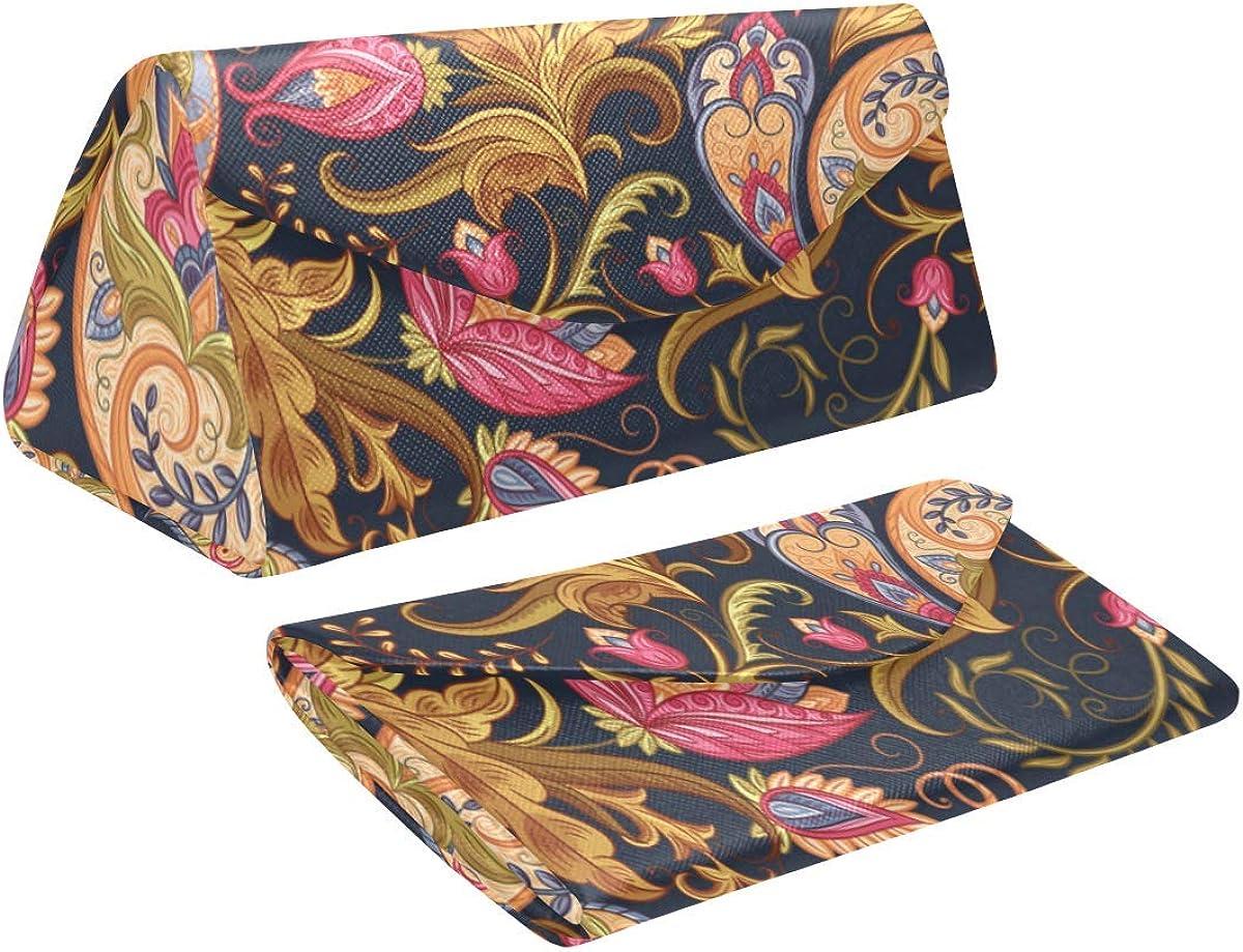 Glasses Case Flowers Paisley Eyeglass Case Leather Magnetic Folding Hard Case Sunglasses Eyewear Protective Case