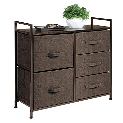 mDesign Cómoda de Tela – Estrecho Organizador de armarios con 5 cajones – Práctico Mueble cajonera para el Dormitorio, la habitación Infantil o Zonas pequeñas – Armario con cajones – marrón café