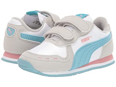 Puma Kids Cabana Racer SL Velcro (Toddler) (PUMA White/Milky Blue/Gray Violet) Girls Shoes