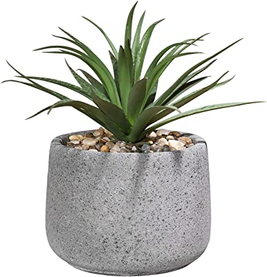 Amazon Com Mygift Decorative Faux Agave Artificial Greenery Plant In Speckled Gray Cement Pot Home Kitchen