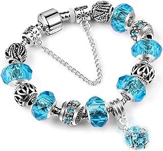 XOYOYZU Family Tree Charms Bracelet for Girls and Women Murano Glass Beads Butterfly Flower Charms Amethyst Bracelets