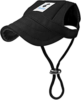 Pawaboo ペットキャップ 犬 耳の穴 ネックストラップ付き オックスフォードクロス製 コットン素材 熱中症対策 通気性 怪我防止 日除け 調節可能 ドッグウェア かぶりもの お出かけ用品 小中大型犬対応 black XLサイズ