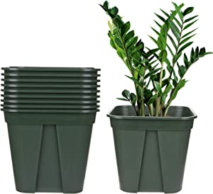 Fasmov 10 Pcs Square Nursery Pot Garden Flower Pots Nursery Plant Container Kit, Green