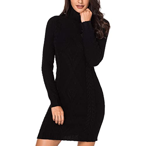 bc8b1b8f79d Sidefeel Women Asymmetric Buttoned Cable Knit Bodycon Mini Sweater Dress  Jumper