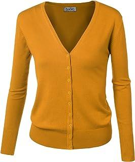 biadani Mujer Botón Abajo Manga Larga Basic Knit chaqueta de punto Suéter Suave