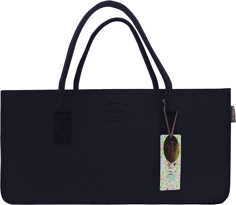 Bolsa de Compras RAIKOU Bolso de Fieltro Cesta para la Colada Antracita,50x25x25cm Bolsa para le/ña de Fieltro Bolso para Chimenea Cesta de Picnic