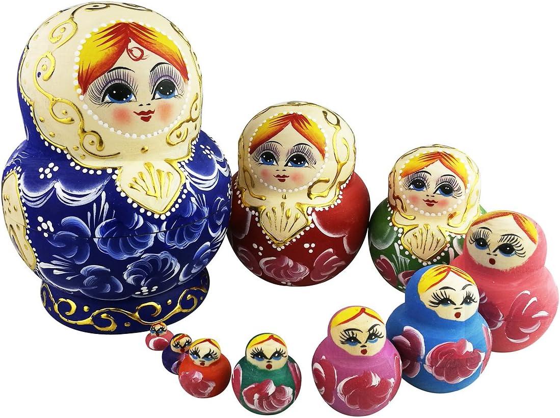 Cute Blond Little Girl Pattern Nesting Matryos Dolls Oklahoma City Mall Set Ranking TOP11 Russian