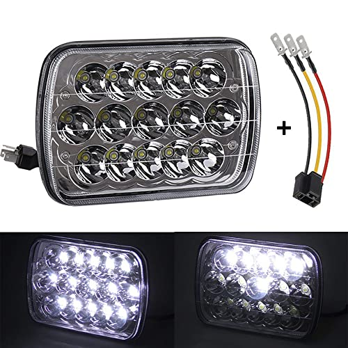 45W 7x6 5x7 inch Led Headlights 6054 H6054 Hi/Lo w/ H4 Headlight Adapter