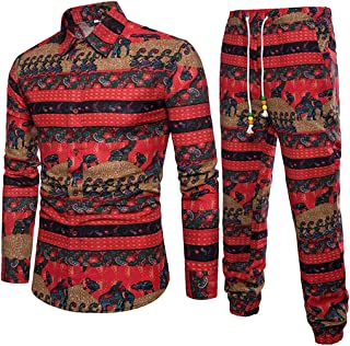 2019 Leisure Suit Men's Premium Suit Spring Casual Tracksuits Slim Fit Long Sleeve Print Shirt+Joggers by-Leegor