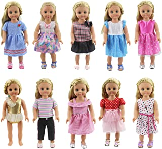 """XADP 10 Sets 18"""" Doll Clothes Outfits Gift for American Girl Doll Clothes and Accessories,and Other 18"""" Dolls"""