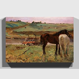 Premium Canvas Print Wall Art (24x16 Inch / 60x40cm) Edgar Degas Horses in a Meadow | Mounted and Stretched Over a Deep Bo...