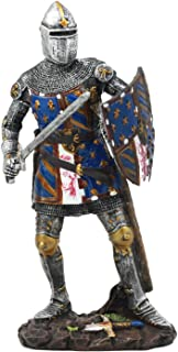 Ebros Le Fleur Royal French Knight in Battle Stance Statue Suit of Armor Swordsman Warrior with Heraldry Shield Renaissance Age of Kings Decorative Sculpture