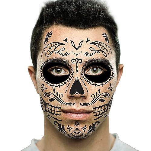 Black Web Sugar Skull Day of the Dead Temporary Face Tattoo Kit: Men or Women