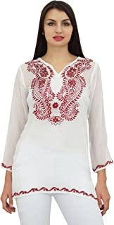 Phagun Women's Long Sleeve Embroidered Tunic Tops Casual Loose Blouse