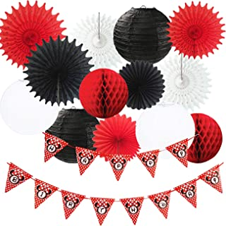 Minnie Mouse Party Decorations White Black Red Happy Birthday Banner Polka Dot/Minnie Mouse First Birthday Decorations Tissue Paper Fans Lanterns Mickey Minnie Mouse Party Supplies
