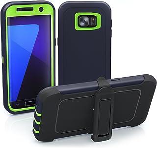Galaxy S7 Edge Case, ToughBox [Armor Series] [Shock Proof] [Dark Blue | Lime] for Samsung Galaxy S7 Edge Case [Built in Sc...