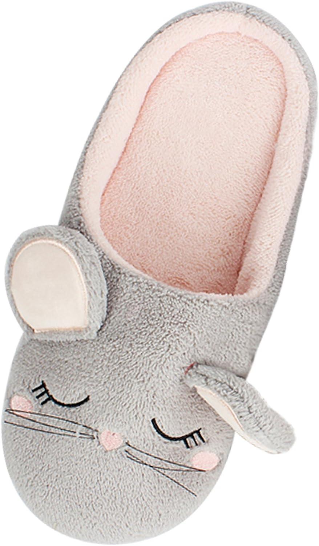 Bestfur Women's Warm Cute Soft Sole Cozy Cotton House Slippers