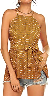 Tobrief Women's Chiffon Tank Top Halter Strap Cami Polka Dot Pleated Sleeveless Blouse with Belt